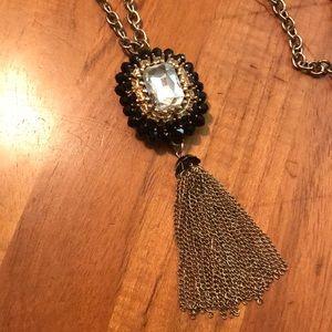Black & Gold long tassel necklace